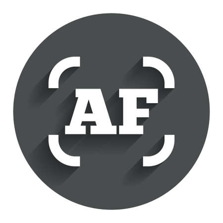 autofocus: Autofocus photo camera sign icon. AF Settings symbol. Circle flat button with shadow. Modern UI website navigation. Stock Photo