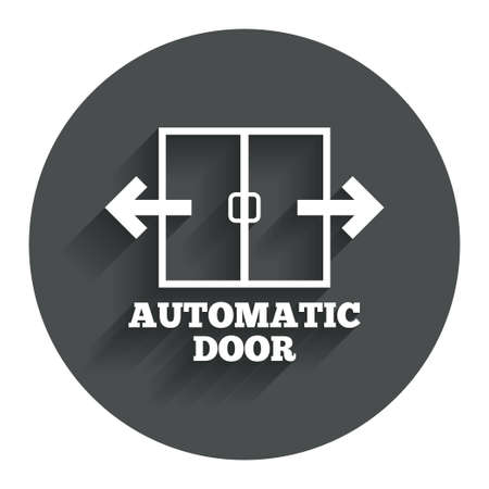 automatic doors: Automatic door sign icon. Auto open symbol. Circle flat button with shadow. Modern UI website navigation.