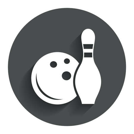 Bowling game sign icon. Ball with pin skittle symbol. Circle flat button with shadow. Modern UI website navigation. photo