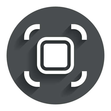 autofocus: Autofocus zone sign icon. Photo camera settings. Circle flat button with shadow. Modern UI website navigation.