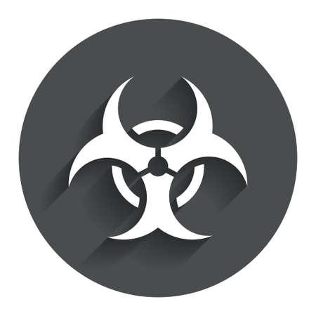 Biohazard sign icon. Danger symbol. Circle flat button with shadow. Modern UI website navigation. photo