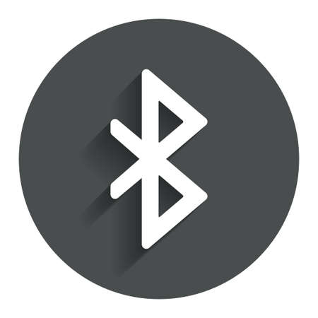 bluetooth: Bluetooth sign icon. Mobile network symbol. Data transfer. Circle flat button with shadow. Modern UI website navigation.