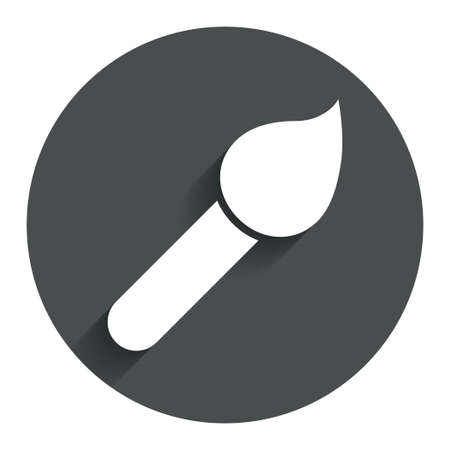 Paint brush sign icon. Artist symbol. Circle flat button with shadow. Modern UI website navigation. photo