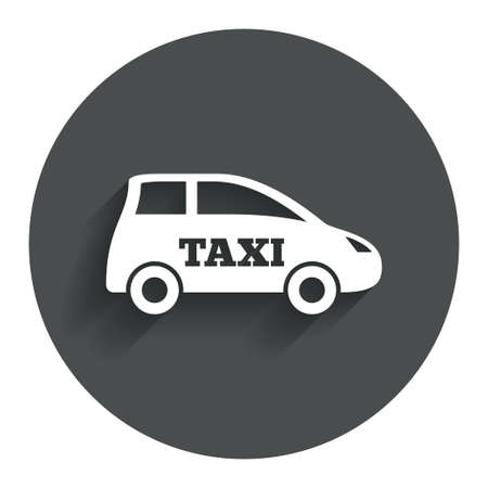 hatchback: Taxi car sign icon. Hatchback symbol. Transport. Circle flat button with shadow. Modern UI website navigation. Stock Photo