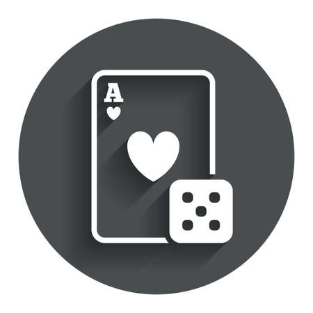 excitement: Casino sign icon. Playing card with dice symbol. Circle flat button with shadow. Modern UI website navigation. Stock Photo