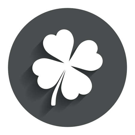 clover buttons: Clover with four leaves sign icon. Saint Patrick symbol. Circle flat button with shadow. Modern UI website navigation. Stock Photo