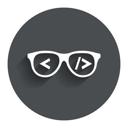 coder: Coder sign icon. Programmer symbol. Glasses icon. Circle flat button with shadow. Modern UI website navigation. Stock Photo