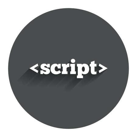 javascript: Icono de signo Script. S�mbolo de c�digo Javascript. C�rculo bot�n plano con la sombra. Modern sitio web de la interfaz de usuario de navegaci�n. Foto de archivo