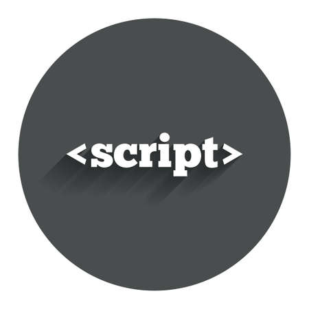 javascript: Script sign icon. Javascript code symbol. Circle flat button with shadow. Modern UI website navigation.