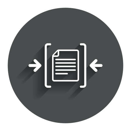 zipped: Archive file sign icon. Compressed zipped file symbol. Arrows. Circle flat button with shadow. Modern UI website navigation. Stock Photo