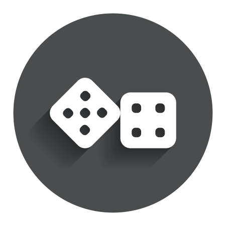 excitement: Dices sign icon. Casino game symbol. Circle flat button with shadow. Modern UI website navigation.