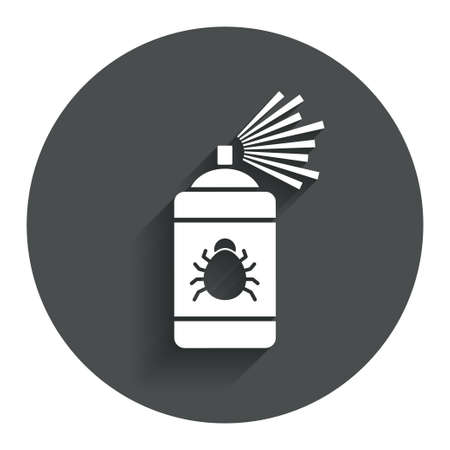 fumigation: Bug disinfection sign icon. Fumigation symbol. Bug sprayer. Circle flat button with shadow. Modern UI website navigation.
