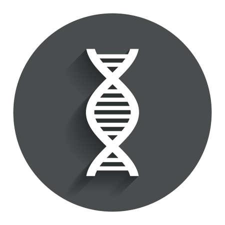 deoxyribonucleic: DNA sign icon. Deoxyribonucleic acid symbol. Circle flat button with shadow. Modern UI website navigation.