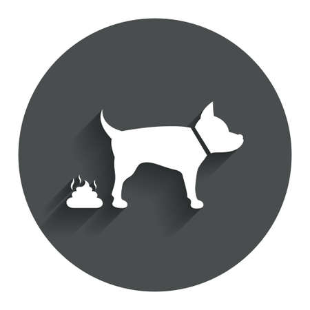 feces: Feces sign icon. Clean up after pets symbol. Put it in the bag. Circle flat button with shadow. Modern UI website navigation.
