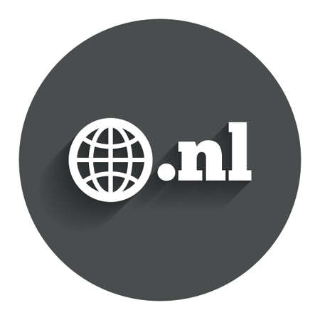 nl: Domain NL sign icon. Top-level internet domain symbol with globe. Circle flat button with shadow. Modern UI website navigation. Stock Photo