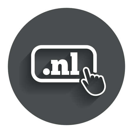 nl: Domain NL sign icon. Top-level internet domain symbol with hand pointer. Circle flat button with shadow. Modern UI website navigation. Stock Photo