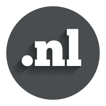 nl: Domain NL sign icon. Top-level internet domain symbol. Circle flat button with shadow. Modern UI website navigation.