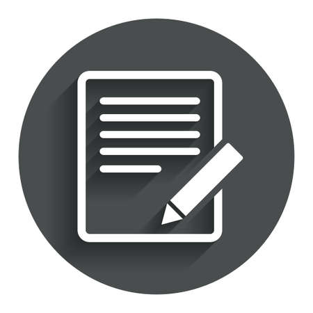 Edit document sign icon. Edit content button. Circle flat button with shadow. Modern UI website navigation.