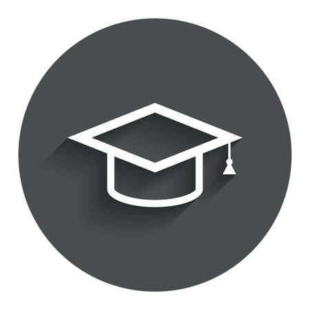 Graduation cap sign icon. Higher education symbol. Circle flat button with shadow. Modern UI website navigation.