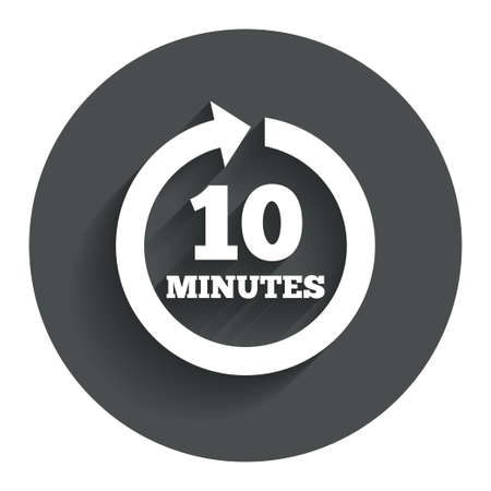 Every 10 minutes sign icon. Full rotation arrow symbol. Circle flat button with shadow. Modern UI website navigation.