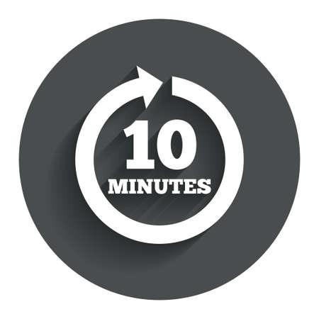 Elke 10 minuten teken icoon. Volledige omwenteling pijl-symbool. Cirkel flat knop met schaduw. Modern UI website navigatie.