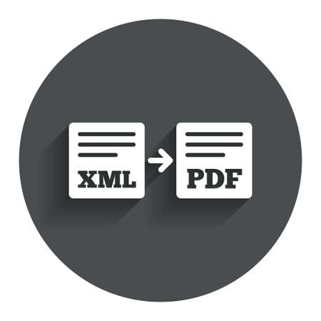 xml: Export XML to PDF icon. File document symbol. Circle flat button with shadow. Modern UI website navigation.