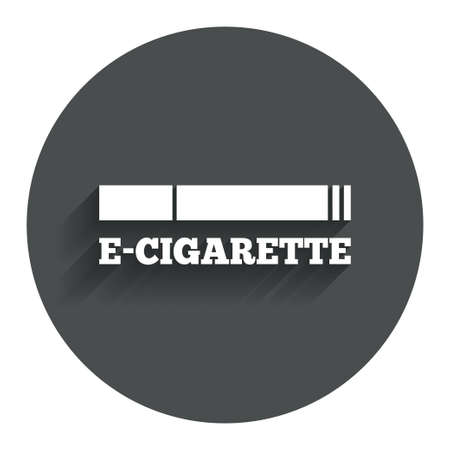 Smoking sign icon. E-Cigarette symbol. Electronic cigarette. Circle flat button with shadow. Modern UI website navigation. photo