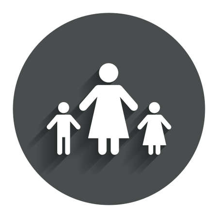 one parent: One-parent family with two children sign icon. Mother with son and daughter symbol. Circle flat button with shadow. Modern UI website navigation.