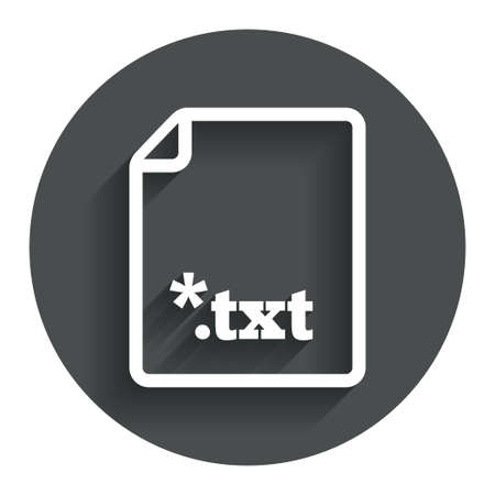 txt: Text file icon. Download txt doc button. Txt file extension symbol. Circle flat button with shadow. Modern UI website navigation.