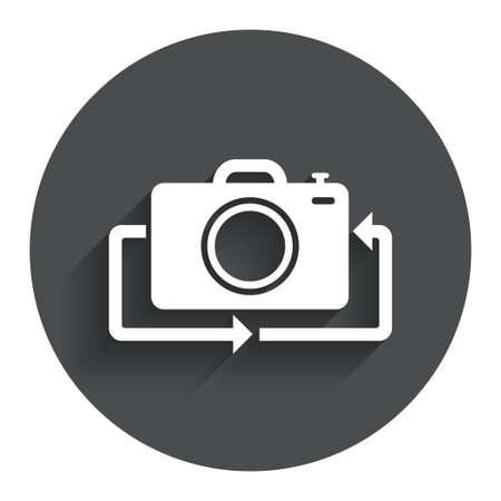 button front: Front photo camera sign icon. Digital photo camera symbol. Change front to back. Circle flat button with shadow. Modern UI website navigation.