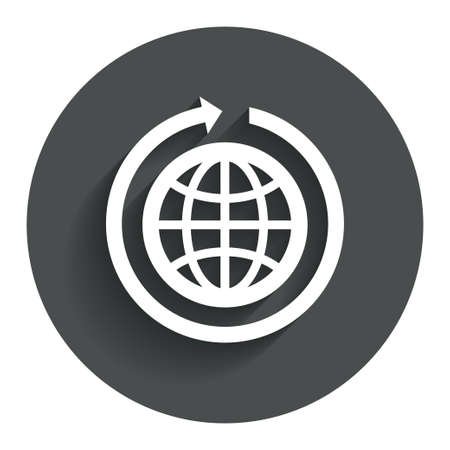 Globe sign icon. Round the world arrow symbol. Full rotation. Circle flat button with shadow. Modern UI website navigation. photo