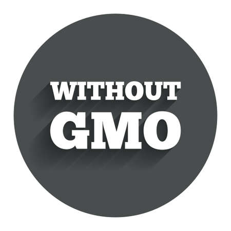 modified: No GMO sign icon. Without Genetically modified food. Stop GMO. Circle flat button with shadow. Modern UI website navigation. Stock Photo