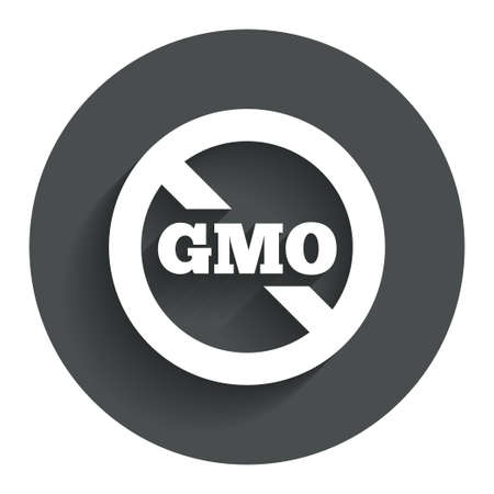 gmo: No GMO sign icon. Without Genetically modified food. Stop GMO. Circle flat button with shadow. Modern UI website navigation. Stock Photo