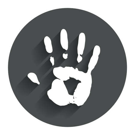 Hand print sign icon. Stop symbol. Circle flat button with shadow. Modern UI website navigation. photo