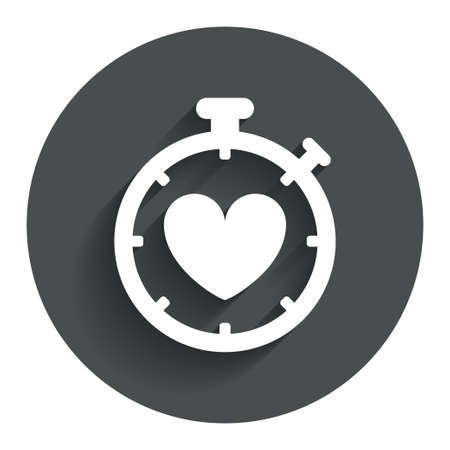 palpitation: Heart Timer sign icon. Stopwatch symbol. Heartbeat palpitation. Circle flat button with shadow. Modern UI website navigation.
