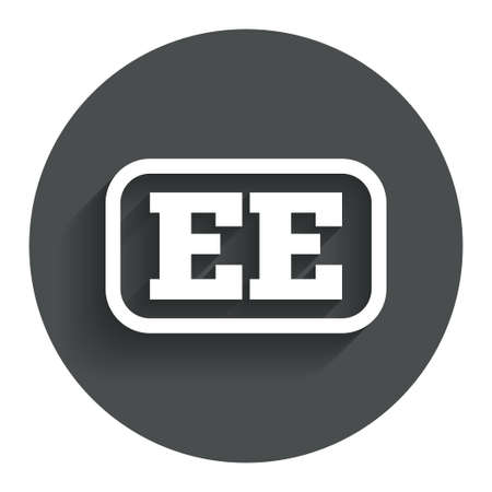 ee: Estonian language sign icon. EE translation symbol with frame. Circle flat button with shadow. Modern UI website navigation.