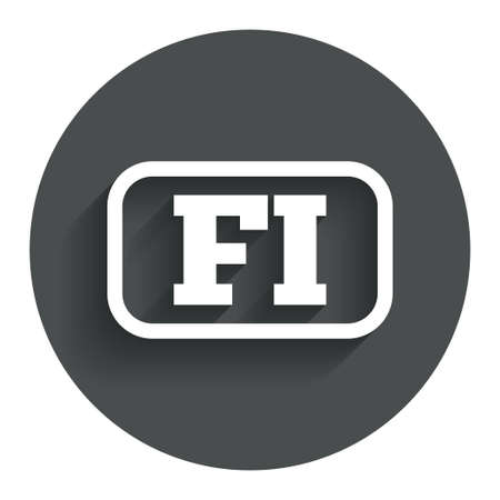 finnish: Finnish language sign icon. FI Finland translation symbol with frame. Circle flat button with shadow. Modern UI website navigation.