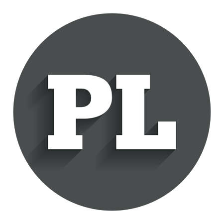 pl: Polish language sign icon. PL translation symbol. Circle flat button with shadow. Modern UI website navigation.