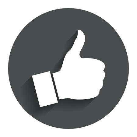 Like sign icon. Thumb up sign. Hand finger up symbol. Circle flat button with shadow. Modern UI website navigation. photo