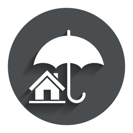 belay: Home insurance sign icon. Real estate insurance symbol. Circle flat button with shadow. Modern UI website navigation.