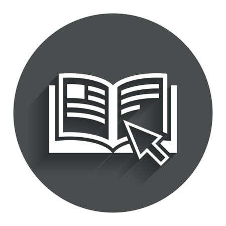 Istruzione sign icon. Manuale simbolo libro. Leggere prima dell'uso. Bottone piatto Cerchio con ombra. Sito web UI navigazione moderna.