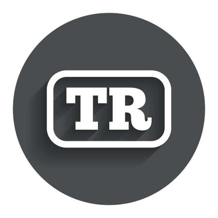 tr: Turkish language sign icon. TR Turkey Portugal translation symbol with frame. Circle flat button with shadow. Modern UI website navigation.