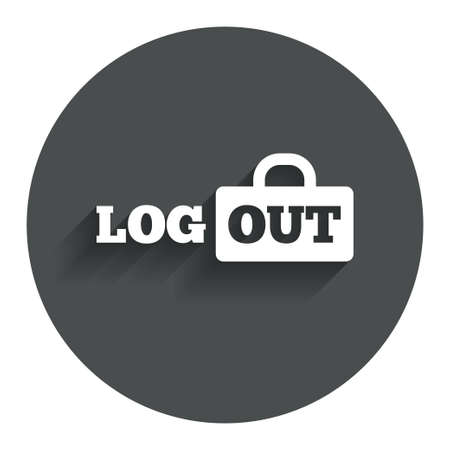 Logout sign icon. Sign out symbol. Lock icon. Circle flat button with shadow. Modern UI website navigation. photo