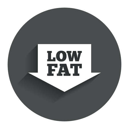 lowfat: Low fat sign icon. Salt, sugar food symbol with arrow. Circle flat button with shadow. Modern UI website navigation.