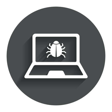 Laptop virus sign icon. Notebook software bug symbol. Circle flat button with shadow. Modern UI website navigation.