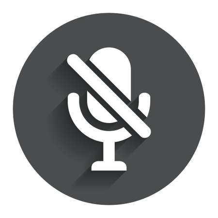 mute: No Microphone sign icon. Speaker symbol. Circle flat button with shadow. Modern UI website navigation. Stock Photo