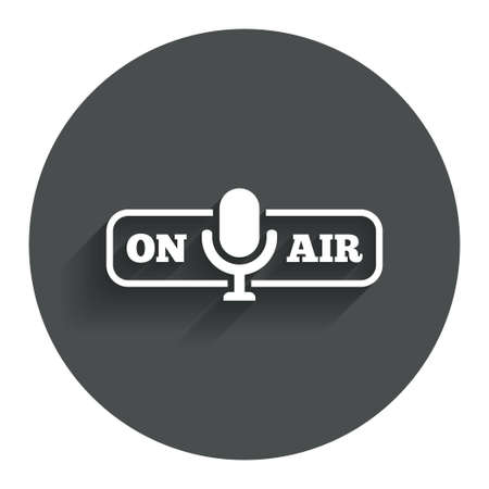 On air sign icon. Live stream symbol. Microphone symbol. Circle flat button with shadow. Modern UI website navigation. photo