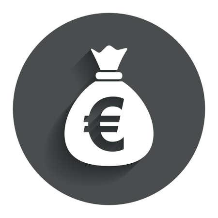 お金袋の記号アイコン。ユーロ ユーロ通貨記号。影を持つサークル フラット ボタン。モダン UI web サイト ・ ナビゲーション。 写真素材