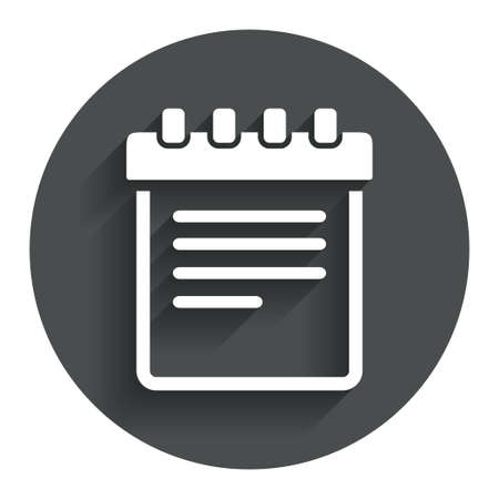 Notepad sign icon. Paper notebook symbol. Circle flat button with shadow. Modern UI website navigation. photo