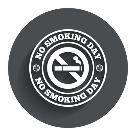 No smoking day sign icon. Quit smoking day symbol. Circle flat button with shadow. Modern UI website navigation. photo